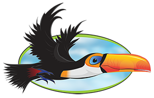 Illustration of a toucan from the Toucan Sky logo